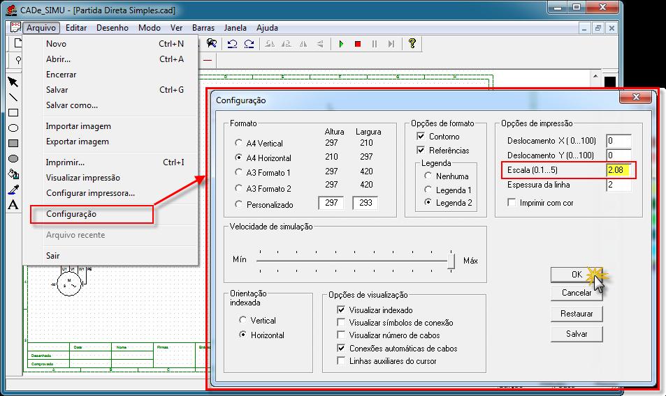 Configuração impressão CADe SIMU