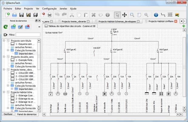Diagrama unifilar QElectrotech