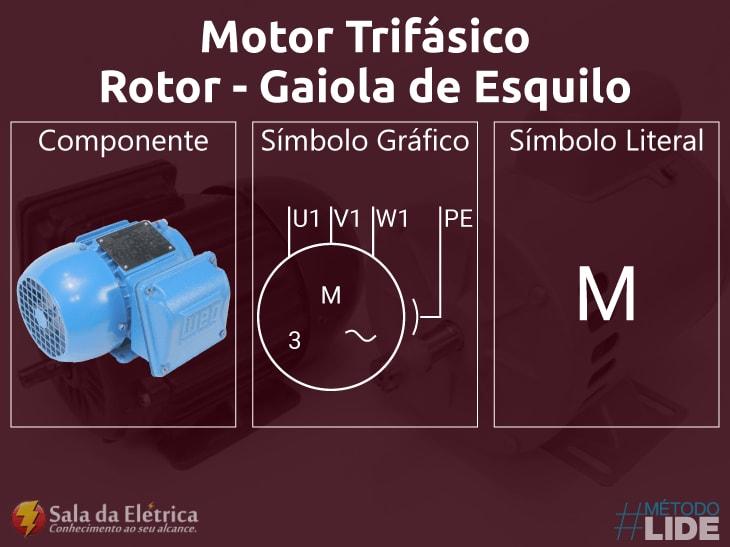 Motor trifásico rotor gaiola de esquilo símbolos encontrados em diagramas elétricos
