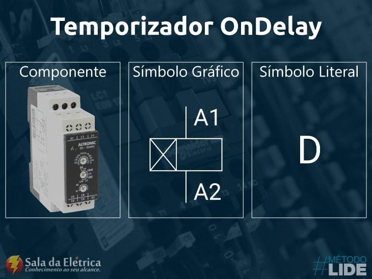 Temporizador OnDelay símbolos encontrados em diagramas elétricos
