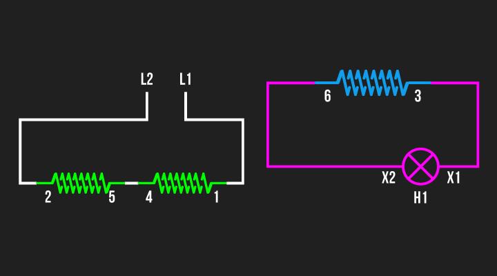 Ligação para definir a polaridade das bobinas 1 e 2