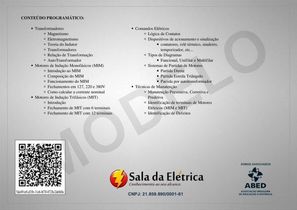 Certificado do Curso Comandos Elétricos