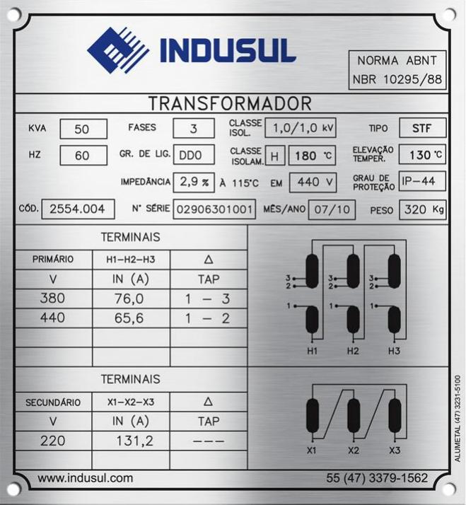 placa com informações de um transformador