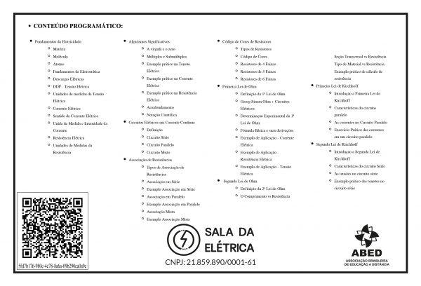 Certificado Curso Leitura e Interpretação de Diagramas Elétricos - Verso