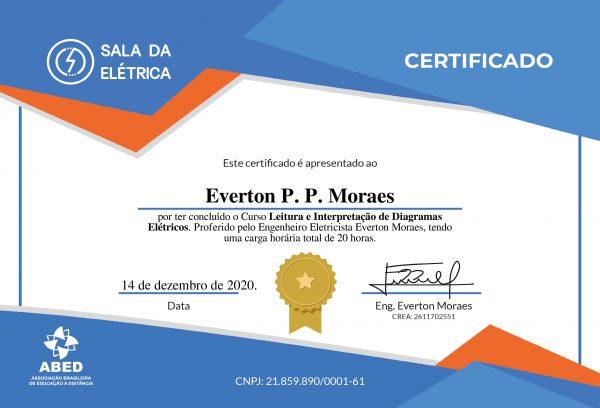 Certificado Curso Leitura e Interpretação de Diagramas Elétricos - Frente