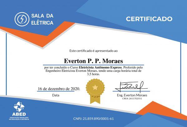 Certificado Eletricista Autonomo Express - Frente